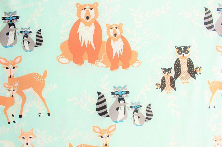 Hello Bear, Art Gallery Fabrics, AGF, Bonnie Christine, Mint Green, Cotton Fabric, Woodland, Bear, Fox, Racoon, Deer, Owl, Half Metre by TwoChubbyRabbits on Etsy