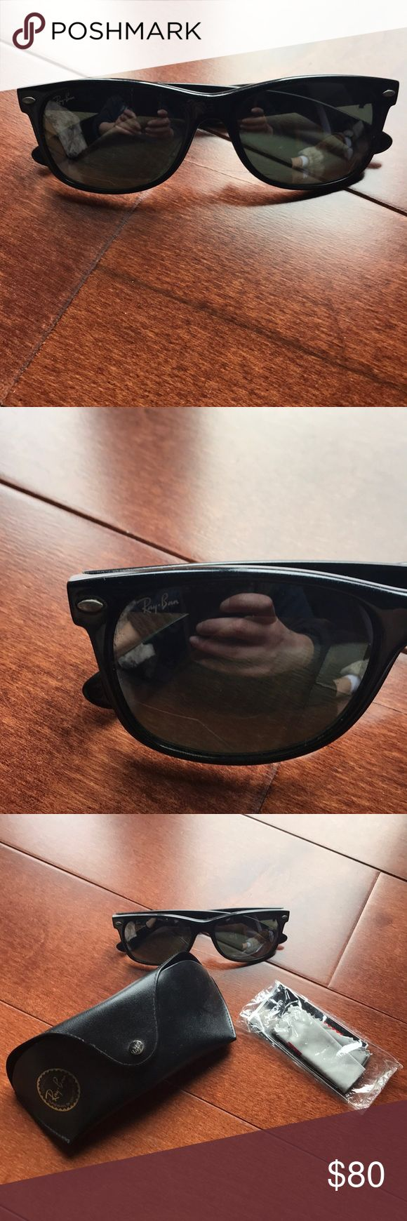 Ray-Ban Wayfarer Black Ray-Ban Wayfarer in excellent used condition. Includes case, cloth, and manufacturer's information note. Ray-Ban Accessories Sunglasses