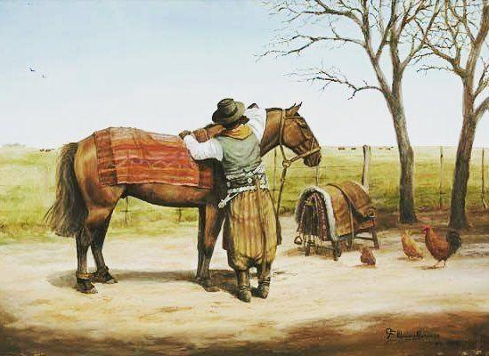 """Emparejando el tuse""   Francisco Madero Marenco   Pintor costumbrista #gaucho #arte #pintura #argentina #horses #caballos #folkloretube #art"