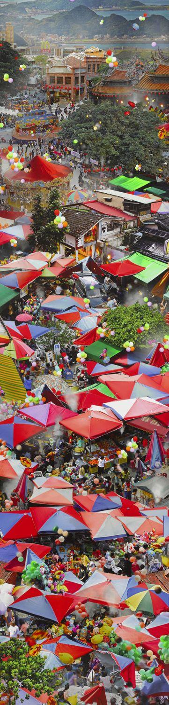 街坊樂遊圖 翁銘邦 攝影 220x55x5cm