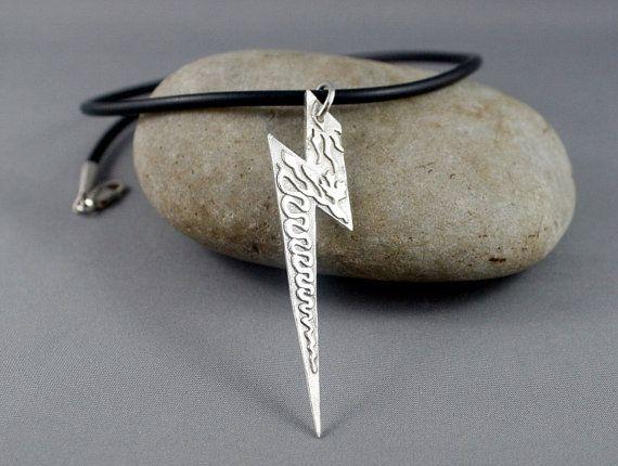 Lightning bolt necklace. Sterling silver lightning bolt. Silver necklace for him. Jewelry for men.
