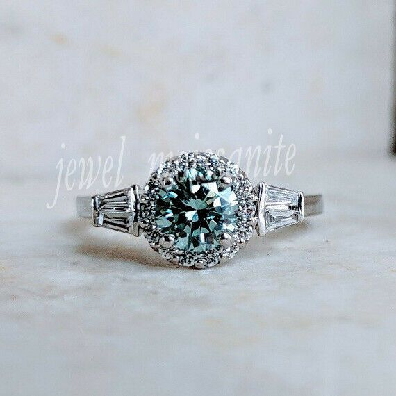 Halo 1.24 Ct Blue Real Moissanite Engagement Promise Ring 925 Sterling Silver 7.