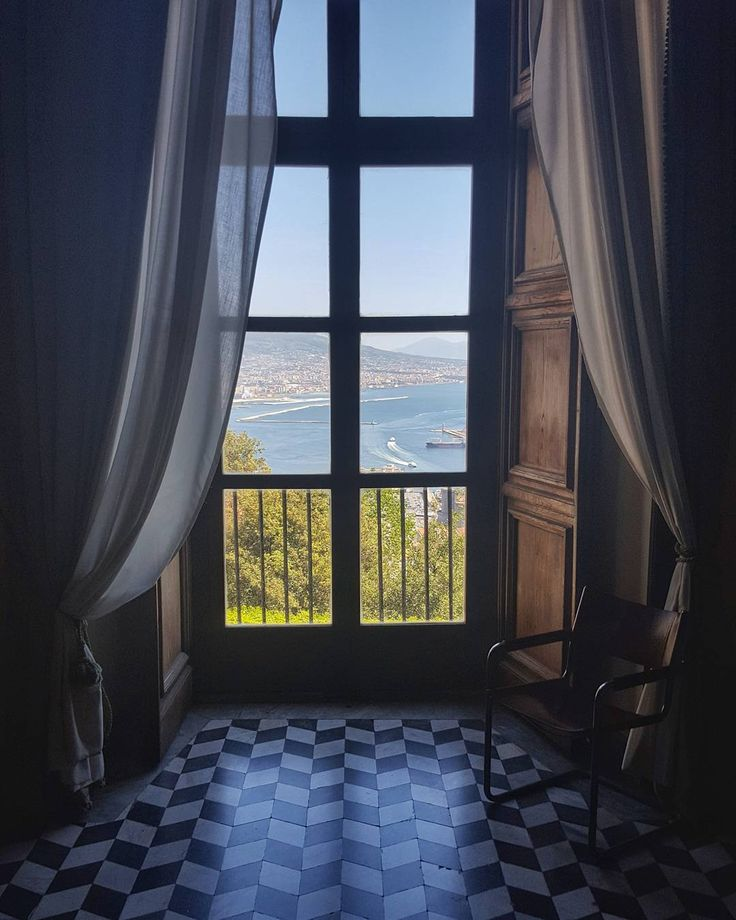 Curator Workplace at the Certosa di San Martino in Naples  Italy  #naples #napoli #italy #travel #afternoon #workplace #museum #certosadisanmartino #curator #chair #window #port #marina #sea #water #bluesky #galaxys6