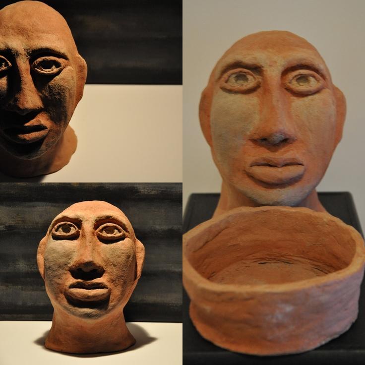 ceramic head 3 fired clay sculpture by iza hazell
