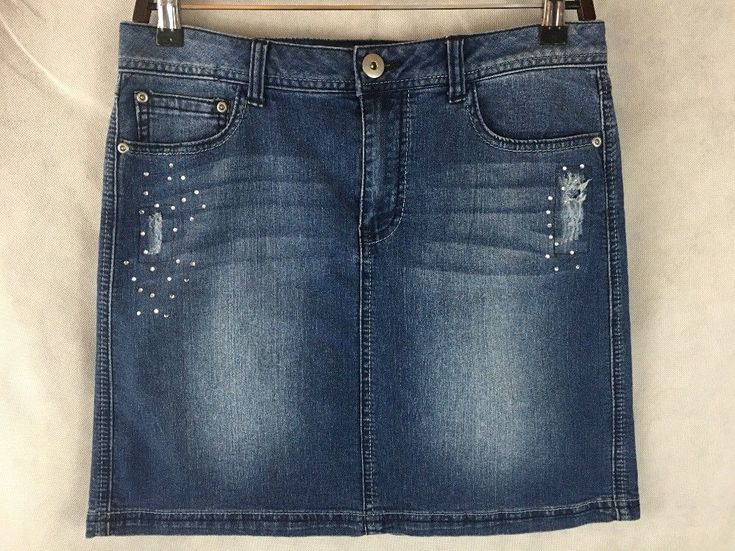 Baccini Mini Denim Blue Jean Skirt Distressed W Rhinestones Size 8 Stretch