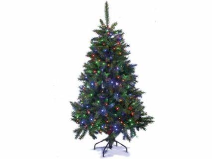 Albero di Natale pino abete artificiale Norvegese con 664 rami e 540 luci multicolor. Altezza 180 cm e base d'appoggio in metallo  Misure: Ø 112 cm x 180 H Materiale: Plastica