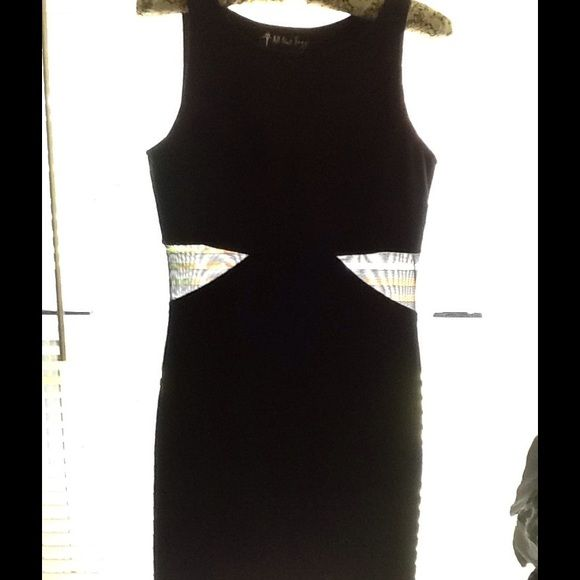 Vintage 80's 90's LBD sheer bodycon dress Med goth Sexy goth little black dress. Punk rock. Sexy . Brand: All that Jazz  80's or 90's black bodycon dress with sheer cut outs.  Size medium. In fantastic condition. Tags: nasty gal ,LF, revolve, cache , Nordstrom, express , free people , Unif, dollzkill , tripp nyc Vintage Dresses