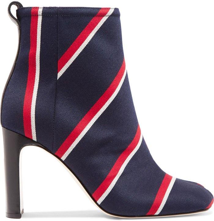 rag & bone 'Ellis' Leather-Trimmed Striped Twill Boots
