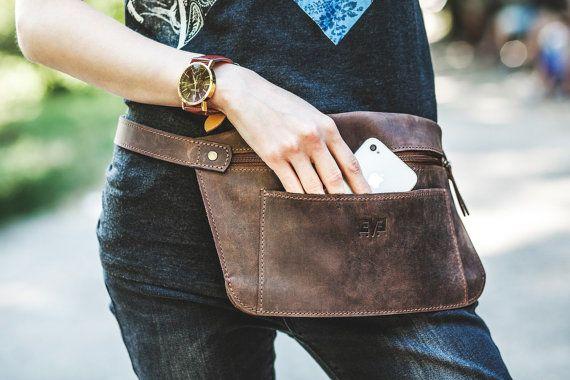 Leather belt bag Money bag Fanny pack Hip Bag by SimpleUA