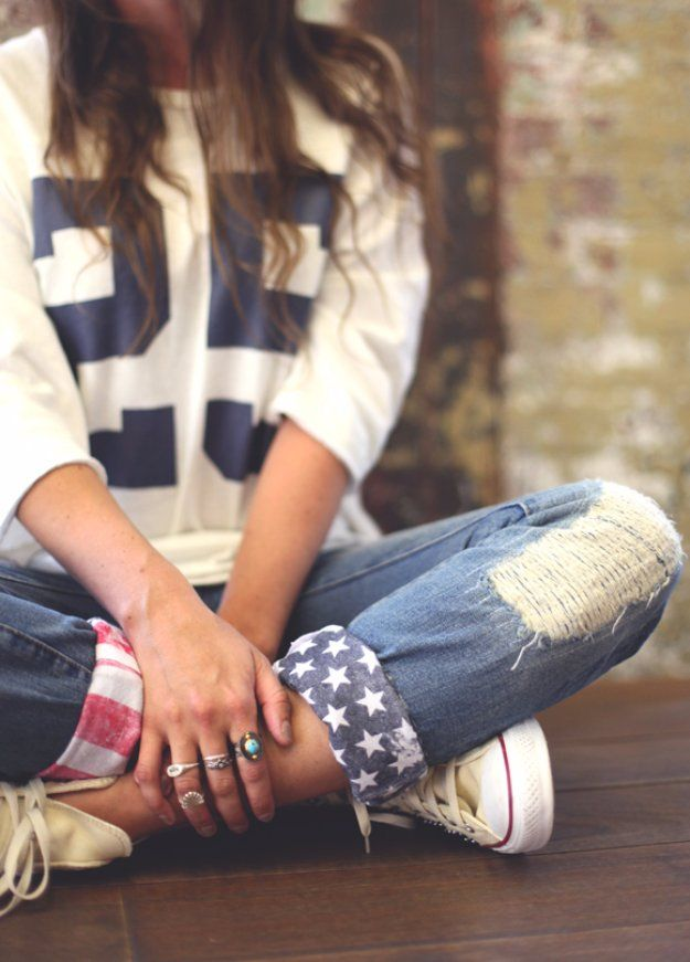 Jeans Makeovers - DIY American Flag Cuffs - Easy Crafts and Tutorials to Refashion Your Jeans and Create Ripped, Distressed, Bleach, Lace Edge, Cut Off, Skinny, Shorts, and Painted Jeans Ideas http://diyprojectsforteens.com/diy-jeans-makeovers