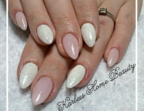 Pretty nails Acrylic nails with Bluesky gel polish - Romantique and french white gel polish with rainbow white glitter