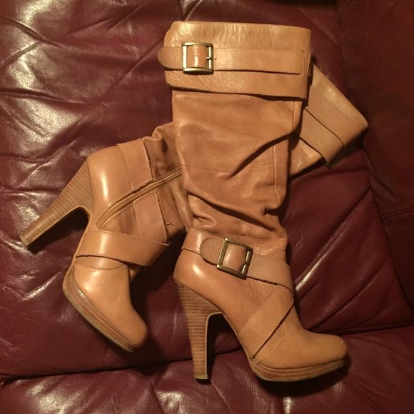 Camel leather boots Slouchy camel / tan colored genuine leather knee high boots with buckled straps and zippers on inside of calf. Some wear as pictured Bakers Shoes Heeled Boots