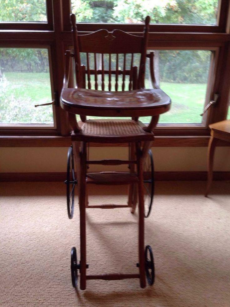Antique 1900's Baby Highchair Stroller Convertible Wheels