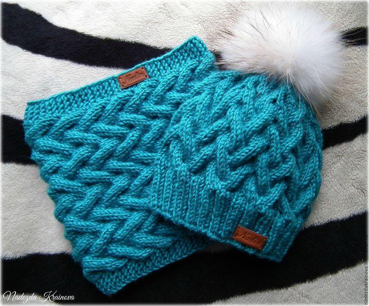 """Купить Набор """"Бирюзовый"""" - синий, однотонный, шапка, снуд, Вязаный комплект…"""