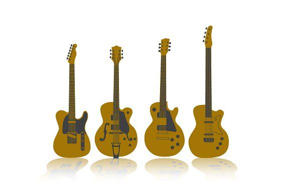 Vector Guitars Graphics Four separate guitars in vector format. Stokes left intact to adjust as you please.File contains Ad by CohenMcDonald