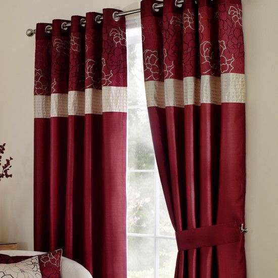 Wine Scattered Flowers Curtain Collection | Dunelm
