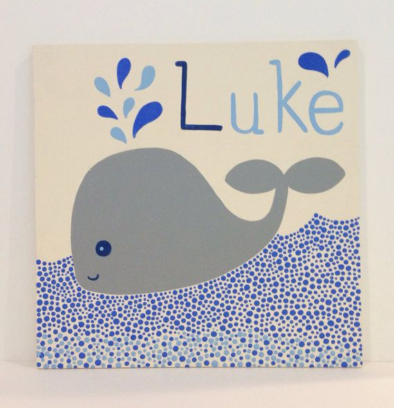 Hand Painted Personalized Name Sign, Nautical Nursery Art, Whale Painting, Baby Name Sign, Ocean Art, Kids Name Sign, Kids Wall Art on Etsy, $45.00