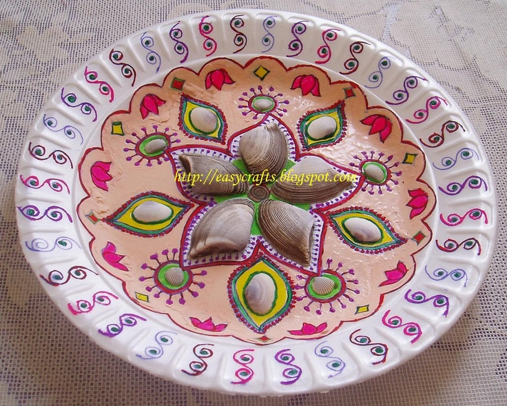 123 best aarti thali images on pinterest diwali for Aarti dish decoration