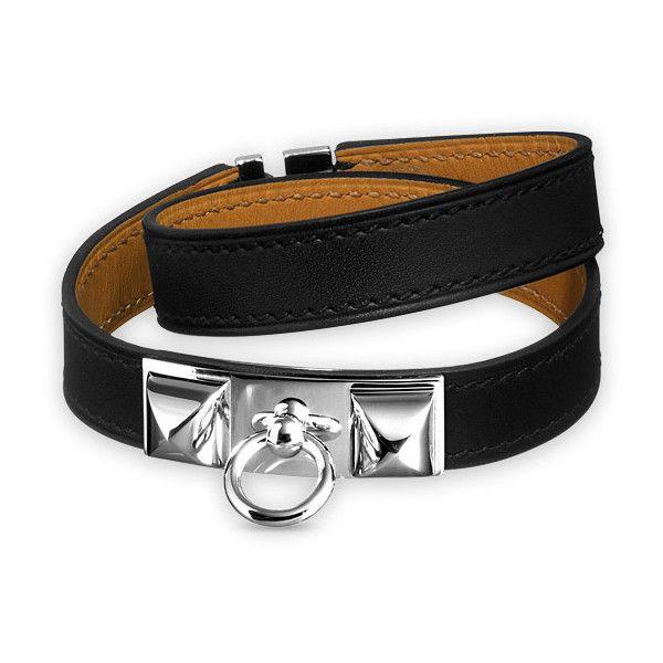 Hermès Rivale Double Tour Bracelet ($560) ❤ liked on Polyvore featuring jewelry, bracelets, leather jewelry, leather bracelet, black bracelet, wide bangle and pandora bracelet