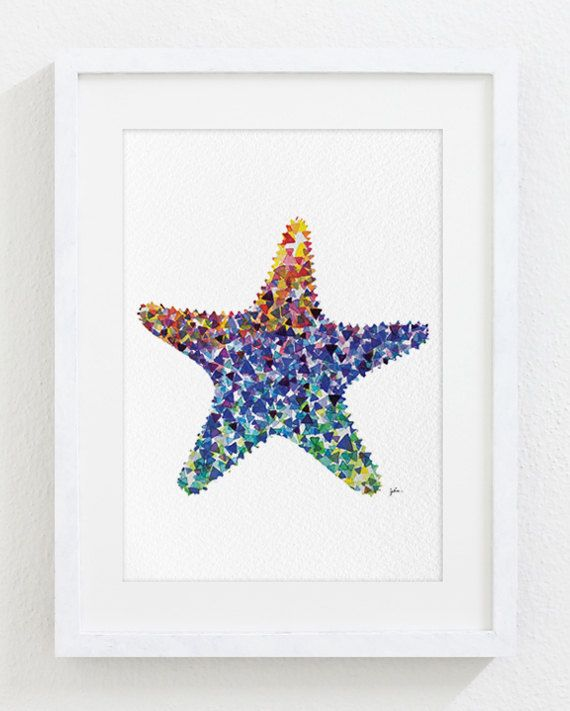 Starfish Painting Watercolor Art  5x7 Archival Print  by ElfShoppe