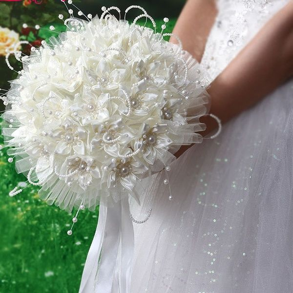 Fashion Silk Crystal Pearl Artificial Bride Hands Holding Rose