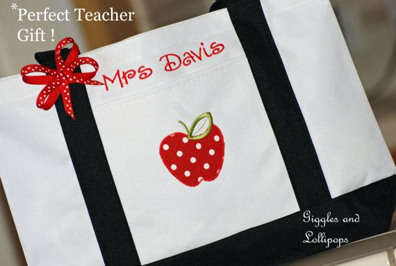 Personalized teacher tote bag great teacher by GigglesandLollipops, $28.00