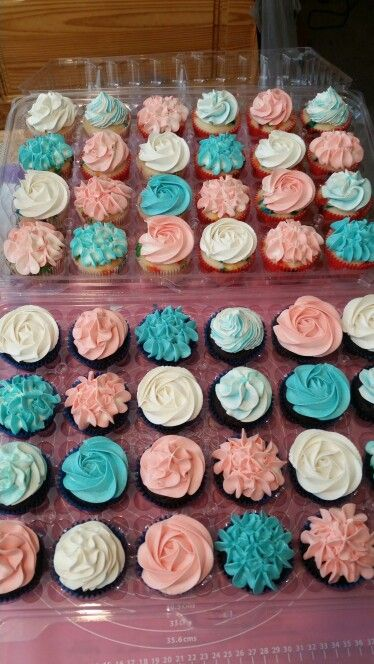 Coral and Teal wedding cupcakes by Ferris Sweets Co. Of Boise Idaho. Www.facebook.com/ferrissweetscompany