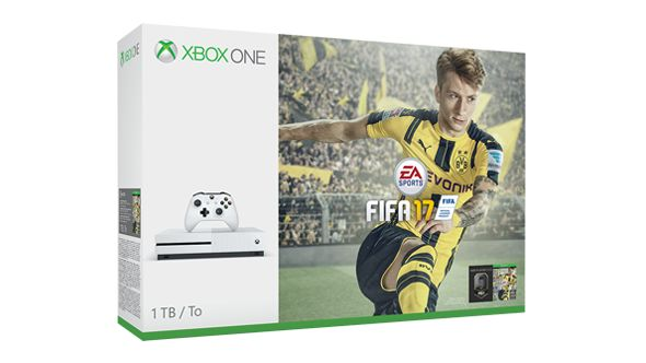 Xbox One S FIFA 17 Bundle (1TB) ★★★★★ OfferPrice:$349.00 The Xbox One S FIFA 17 Bundle deals includes: 1.1TB Xbox One S console 2.Xbox Wireless Controller 3.FIFA 17 full game download 4.3 FIFA Ultimate Team Loaned 5.Legends (Xbox exclusive) 6.1 Rare Player Pack 7.1-month EA Access 8.14-day Xbox Live Gold trial