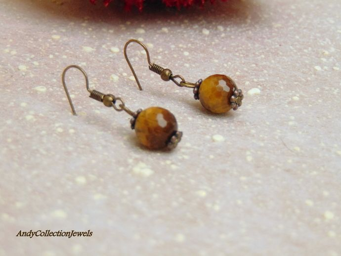 RESERVATED for Crhista Tiger eye dangle copper earrings by AndyCollectionJewels, $5.00 EUR
