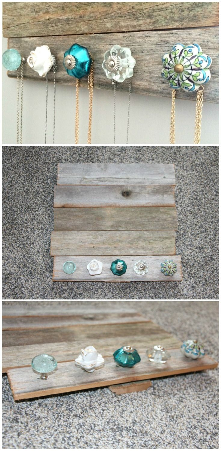 DIY Jewelry holder - perfect for holding and organizing your jewelry and necklaces.  Cute antique knobs (from Pier 1 Imports) and barn wood (Hobby Lobby).  Only cost $30 and was easy to make!  Tutorial, tips, and more images on the blog!
