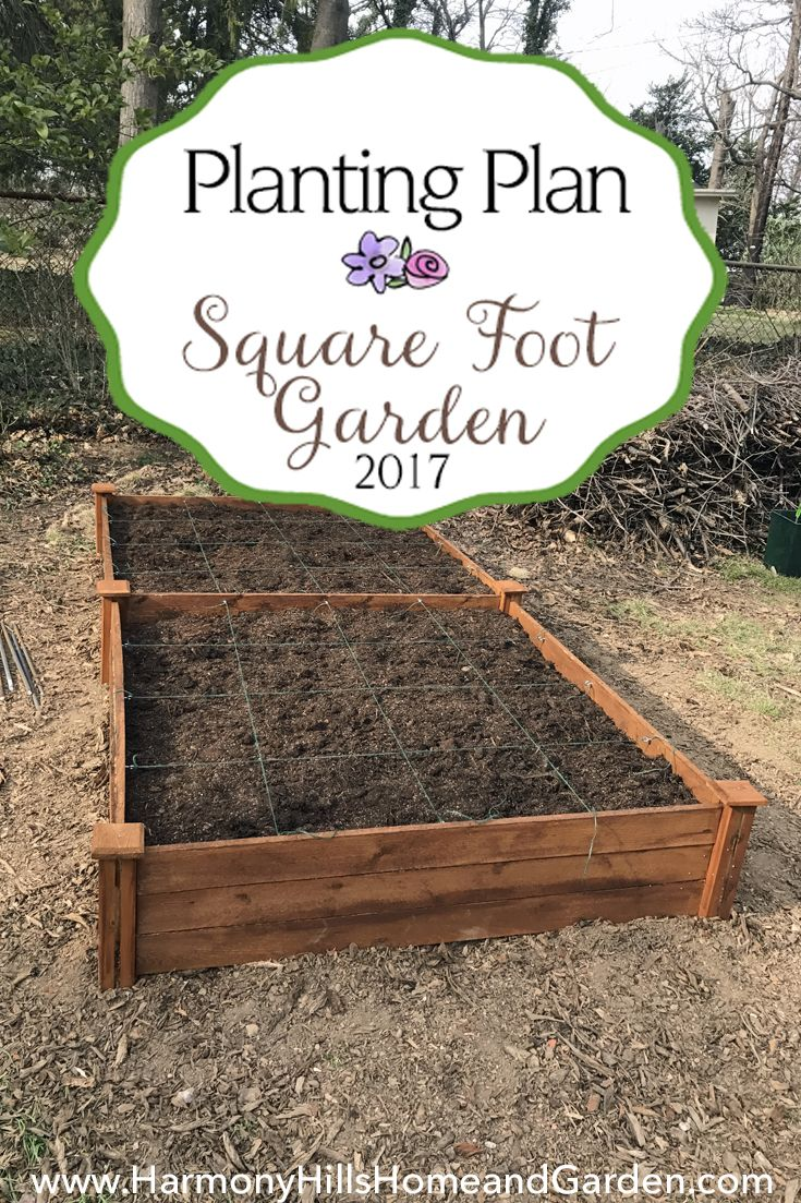 Our 2017 Square Foot Garden Planting Plan - 4'x8' raised bed garden full of vegetables - www.HarmonyHillsHomeandGarden.com