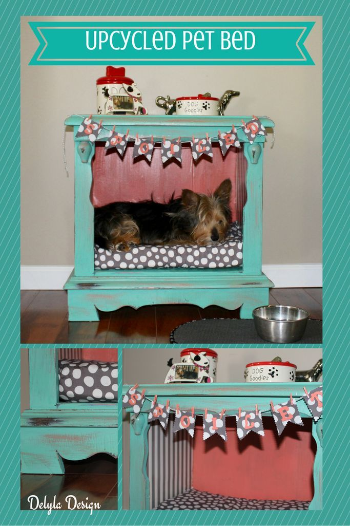 Pet bed made from repurposed drawers.
