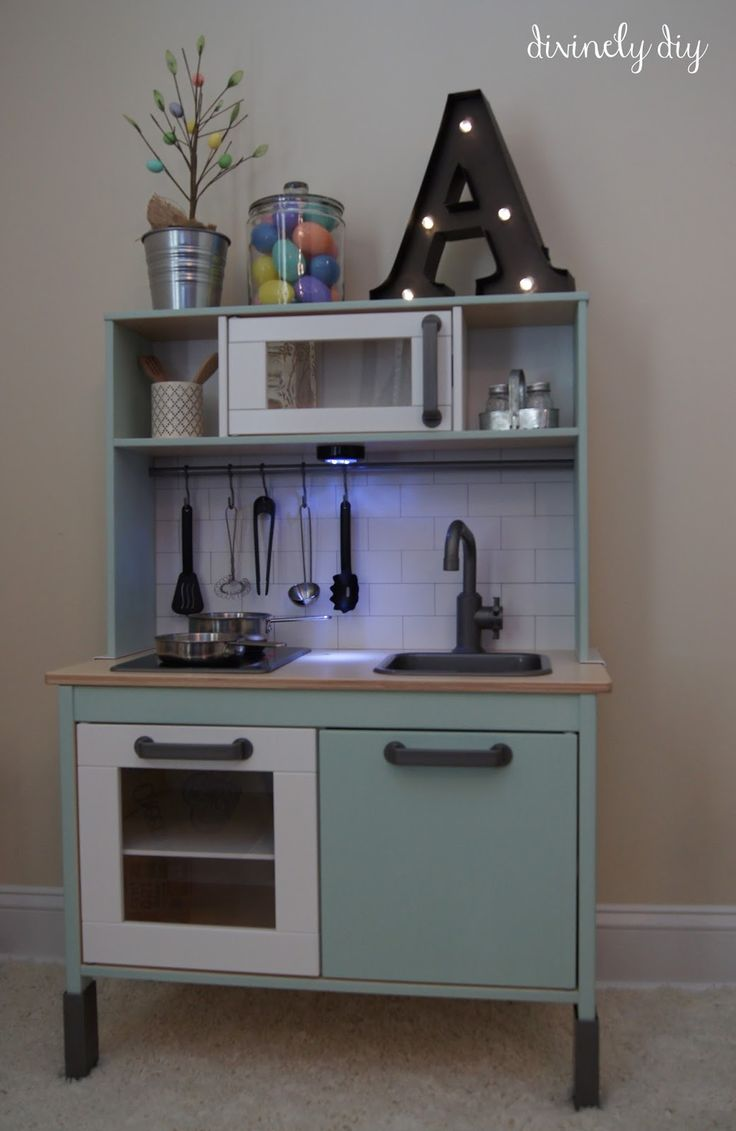 IKEA DUKTIG play kitchen makeover (subway tile & light under microwave)