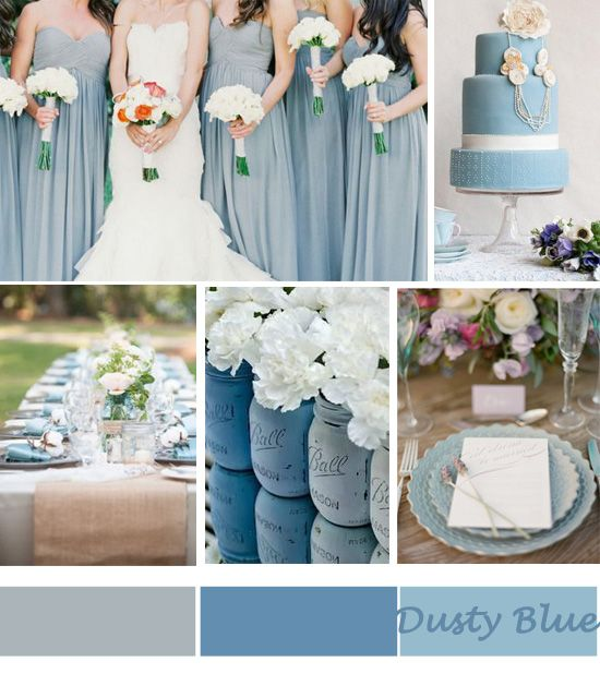 For brides who are still searching for the perfect wedding colors, we'd like to direct your attention to a gorgeous color that works for all season:  cadet blue.  This dusty blue color looks gorgeous with a variety of accent colors.