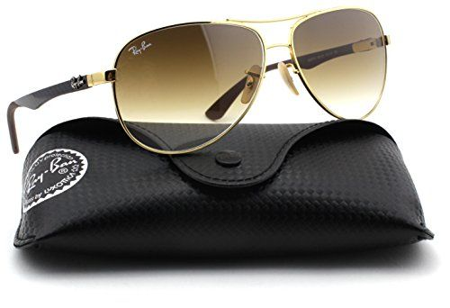 Ray Ban sunglasses |  RayBan RB8313 Carbon Fibre Aviator Unisex Sunglasses Gold FrameLight Brown Gradient Lens 00151 61 * Learn more by visiting the image link.-It is an affiliate link to Amazon. #RayBan sunglasses