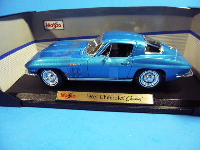 MAISTO 1:18 SCALE DIECAST MODEL CAR-1965 (BLUE) CHEVROLET CORVETTE  #Maisto #Chevrolet