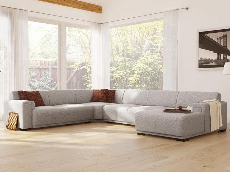 Modern vormgegeven #hoekbank met genoeg plaats voor de hele familie. Fraaie strakke lijnen gecombineerd met een uitstekend zitcomfort. Tevens is er een losse hocker of poef leverbaar. Kenmerkend designelement is de speciaal vormgegeven armleuning en de zitkussen welke in 1 stuk doorlopen. Dit zorgt voor een tijdloze vormgeving, waardoor de bank in elke #interieurstijl uitstekend tot zijn recht komt. #interieur #meubels