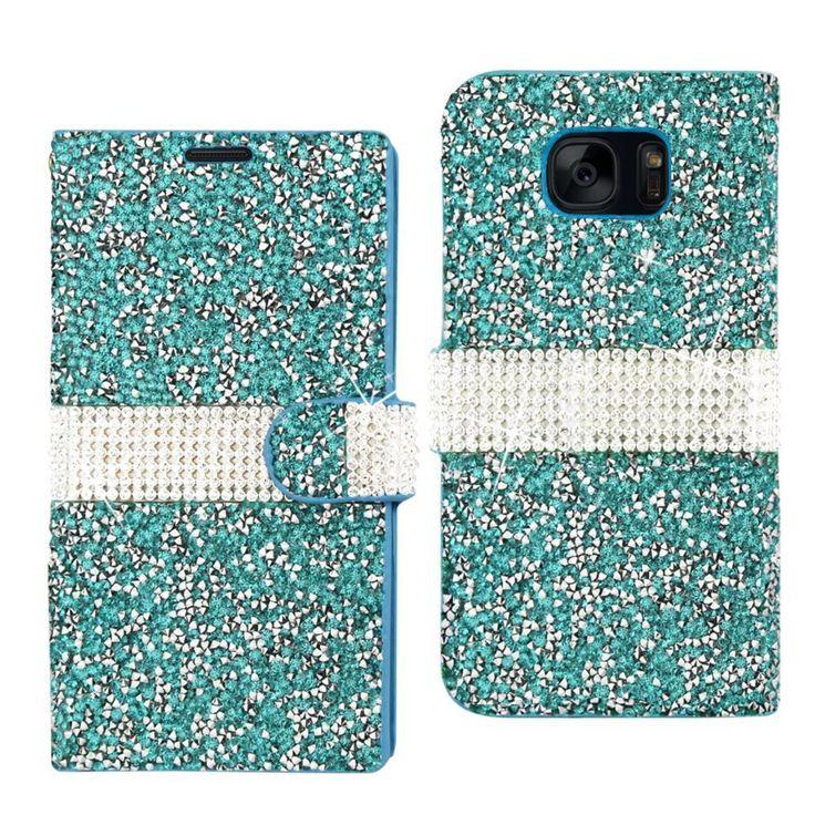 Reiko Samsung Galaxy S7 edge SM-G935V Bling Diamond Flip Case Blue (Samsung Galaxy S7 edge SM-G935V- G935P- G935R4- G935A)