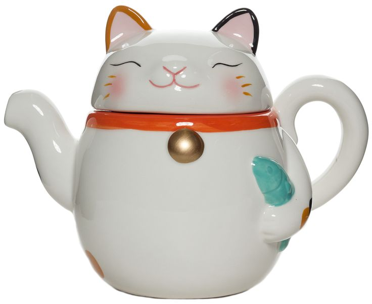 WELCOME CAT TEA POT - The maneki-neko is a beckoning cat that is here to bring you good fortune! This tea pot is the perfect way to start your day. He will usher you good fortune as you pour everyone a cup of tea. This tea pot is ceramic and is 6 inches tall and safe to put into the dishwasher. Just grab a hold of his tail to pour!