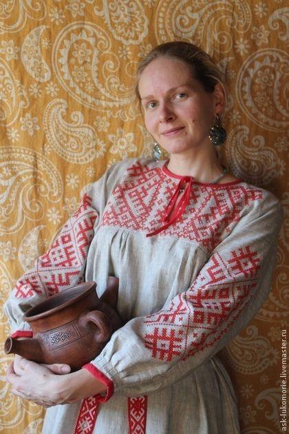 платье с Обережной вышивкой - традиционный крой,русская рубаха,свободная одежда