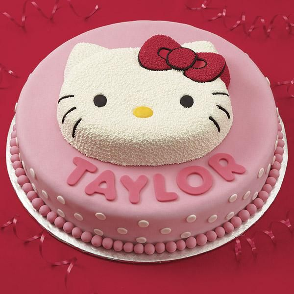 Hello Kitty Birthday Cake - Birthday gals feel special when they spy this so-pretty kitty perched atop a 2-layer cake pedestal. Use fondant letters shaped with our A-B-C and 1-2-3 Cutter Set to add names, ages and message.