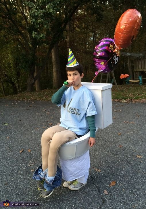 Party pooper costume toilets we and halloween costumes for Easy halloween costume ideas for boys