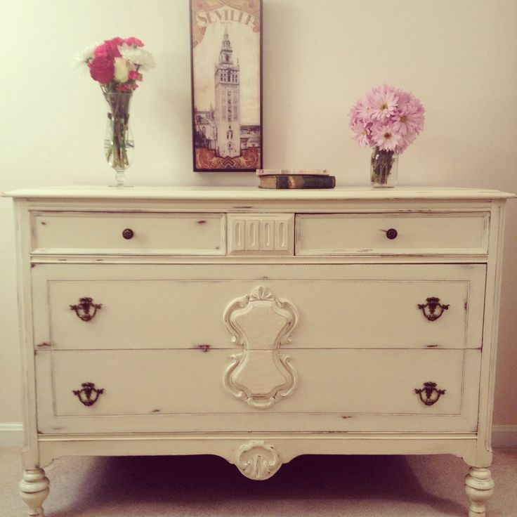1920's shabby chic dresser in Annie Sloan Chalk Paint Cream with distressed wood by Furniture Alchemy