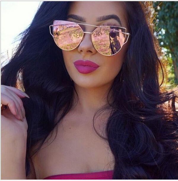 2016 Rose Gold Cat Eye Sunglasses Women Ladies Cool  Flat Lens Sun GlassesPolarizer Protection Shades