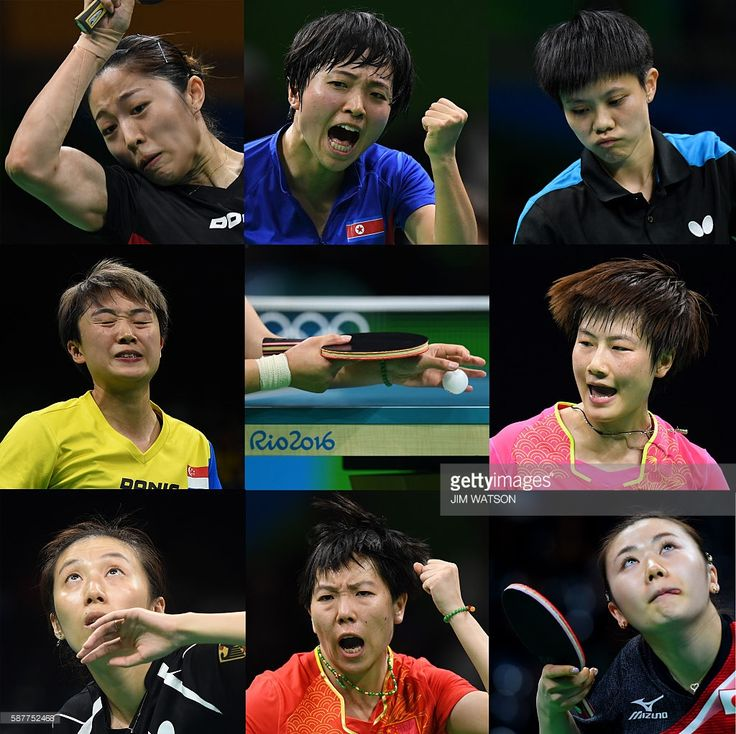 This combination of images shows (from top L clockwise) Singapore's Yu Mengyu, North Korea's Kim Song I, Taiwan's Cheng I-Ching, China's Ding Ning, Japan's Ai Fukuhara, China's Li Xiaoxia, Germany's Han Ying and Singapore's Feng Tian Wei during their women's singles quarter-final table tennis matches at the Riocentro venue during the Rio 2016 Olympic Games in Rio de Janeiro on August 9, 2016. / AFP / Jim WATSON