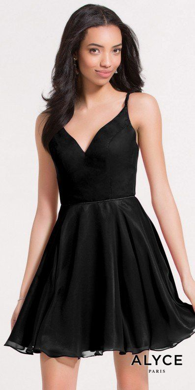 You are sure to be voted homecoming queen when you exude elegance in this Criss Cross Strappy Back Chiffon Homecoming Dress by Alyce Paris. This LBD features a V-shape neckline with spaghetti straps and a stunning fit and flare silhouette. This classic style features a stunning strappy criss cross back that gives this style the perfect edge over any other dress. #edressme