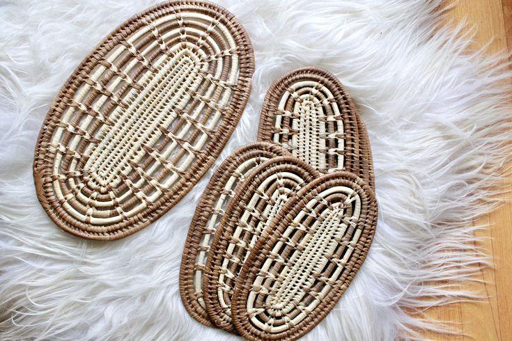 Vintage Woven Trivet Set / Boho Wall Decor - set of 3 / Boho Trivets Set / Woven Trivets / Vintage Woven Trivets / Boho Decor by VelvetPoppyVintage on Etsy