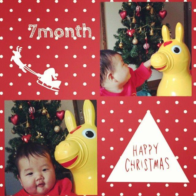 Instagram media m1yk1 - 2014.12.20 7ヶ月になりました♥  そしてちょっぴり早い ばぁばからのクリスマスプレゼント ロディにしてもらった(^o^)/ 乗せたらピョンピョン跳ねてご機嫌 #ロディ#色めちゃ悩んだ #クリスマスプレゼント  離乳食 今日ささみデビューしたよ! 玉ねぎとお粥とまぜたら グラタンみたいな良い香り♪ 完食して寝ちゃった(*´-`)♥ 最近は後追い始まったり ずりばい擬きしたり お座りは完璧マスターした!  すくすく成長しております 身長→74センチ 体重→10.4キロ  #7ヶ月 #7month #赤ちゃん #女の子