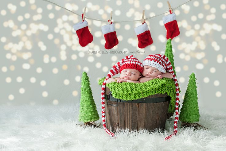 Newborn Photography | Twins | Holiday | Christmas | Adorable newborn baby twin girls spreading some Christmas cheer | Charlyne Lees Photography