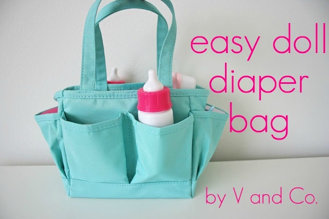 Doll diaper bag: Michaels scrapbook bag, Target baby accessories and sew the rest